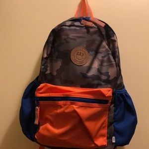 Boys lg. school backpack, camouflage, blue, orange